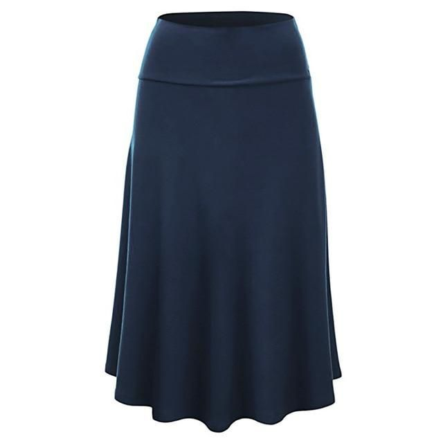 Solid Color Casual Knee-Length Skirt Women Plus Size Flare Hem High Waist Midi Skirt Uniform Pleated Skirt Trendyol#C Blue M