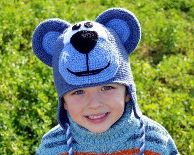 Вязаная крючком детская прикольная шапочка медведь купить веселые смешные шапки с ушками. Магазин Смешапки  Россия Екатеринбург