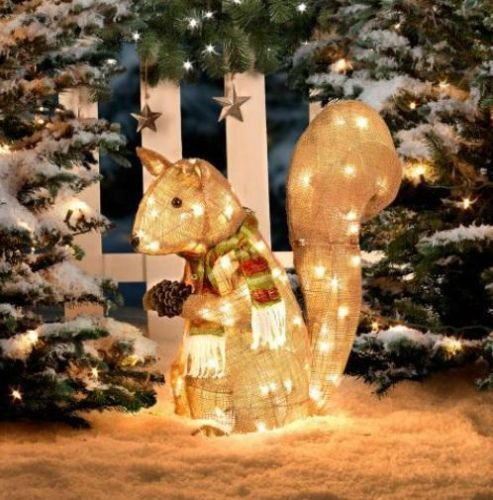 """26"""" Lighted Pre Lit COUNTRY CHRISTMAS SQUIRREL Holiday Yard Art Decoration"""