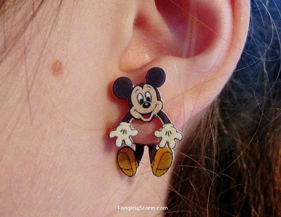 Mickey Mouse clinging earrings two part front and back kawaii earrings on Etsy, $7.50