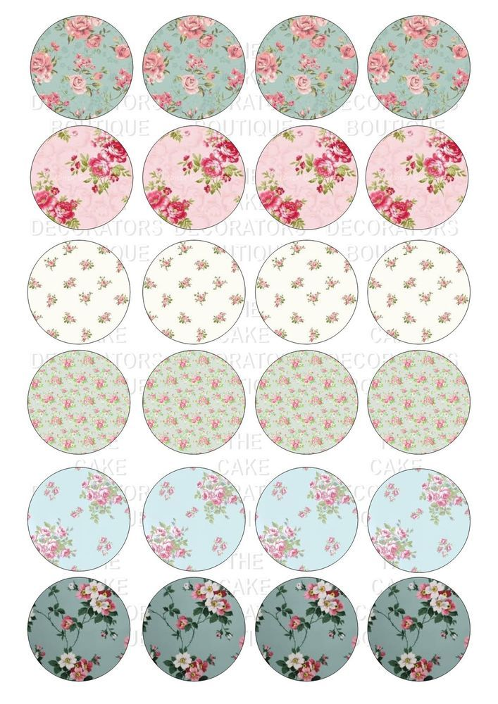 24 Vintage Floral Flowers Iced Icing Cupcake Topper Edble Fairy Cake Toppers