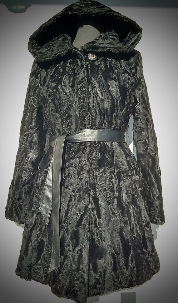 ^^^ Free international shipping ^^^    A brand new handmade black karakul fur coat with hood. It is lined with inner lining and has inner hooks and