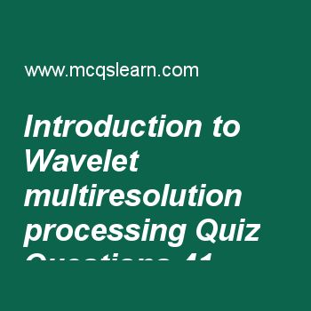 Learn quiz on introduction to wavelet multiresolution processing, digital image processing quiz 41 to practice. Free image processing MCQs questions and answers to learn introduction to wavelet multiresolution processing MCQs with answers. Practice MCQs to test knowledge on introduction to wavelet and multiresolution processing, wavelet and multiresolution processing basics, line detection in image segmentation, 10d discrete fourier transform, fundamentals of image segmentation worksheets...