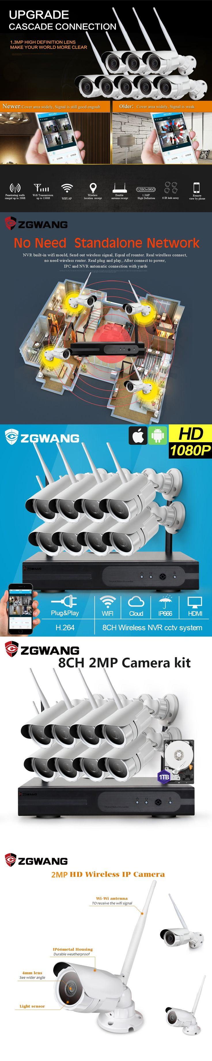 ZGWANG 8CH 2MP HD Wireless NVR Kit IP66 Outdoor HDMI NVR Kit Network 8CH CCTV Security Cameras System Surveillance Kit 1TB HDD