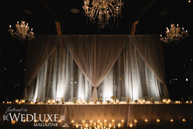 I like the idea of having soft draping on the walls with uplighting and candles - so that the rest of the rest of the reception hall can be dimmed.