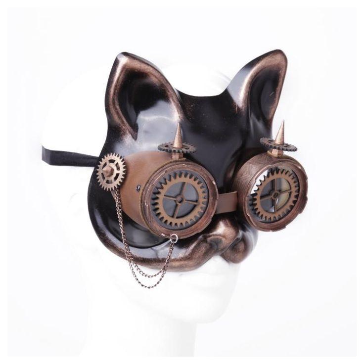 Jetzt günstig online bestellen: Braune Steampunk Maske Katze mit Schweißerbrille - Entdecke die dunkle Welt von VOODOOMANIACS !