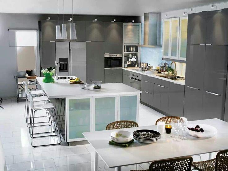 ikea abstrakt grey kitchen - Galeere Kche Einbauleuchten Platzierung