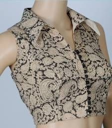 Buy Kalamkari Cotton Sleeveless blouse With Smart Collared Non Padded tbf_cl_06 p sleeveless-blouse online