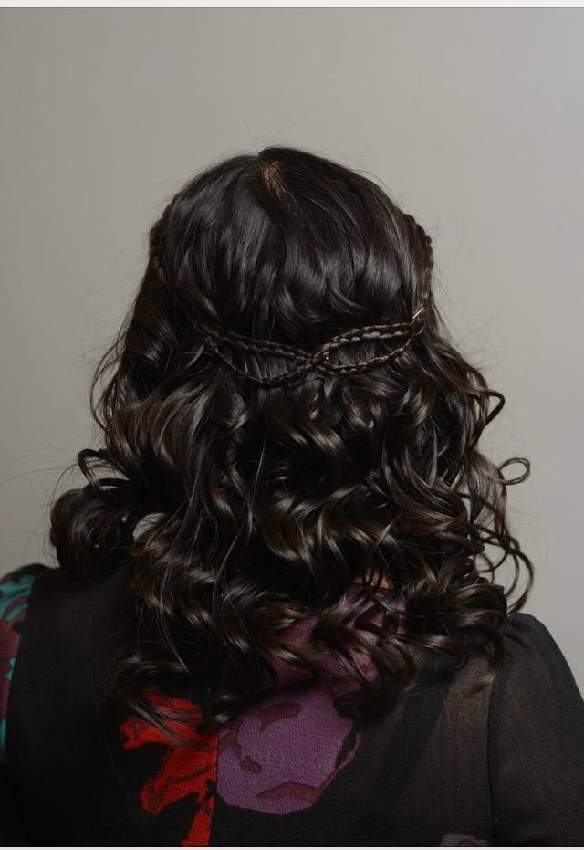 Pin straight Hair done up in curls w/a braided detail. Can easily accommodate a veil & the braided detail is unveiled after your headpiece/veil is removed.