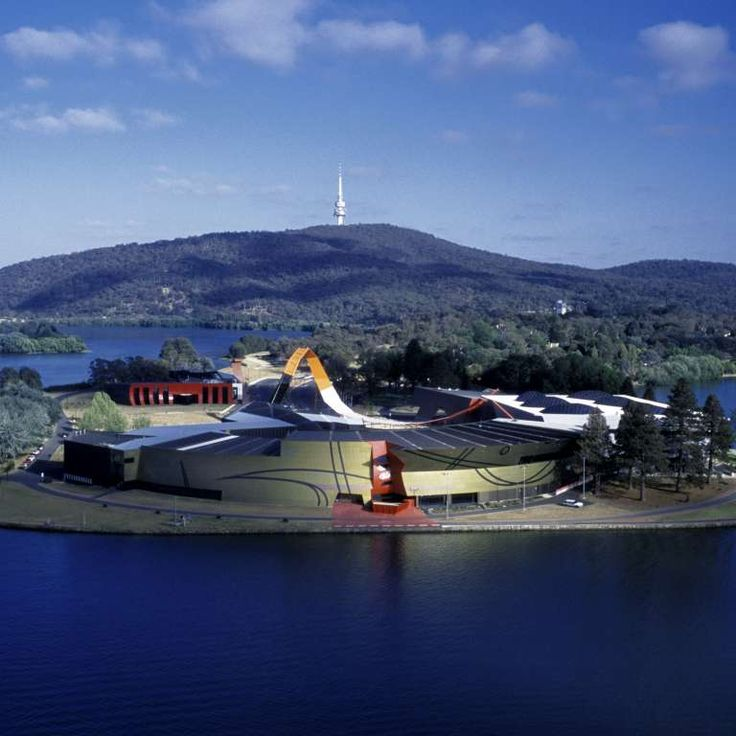 Aerial view of the National Museum of Australia peninsula