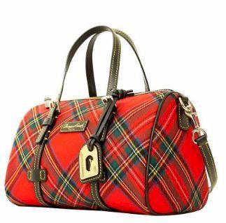 Red Stewart tartan bag by Dooney and Bourke
