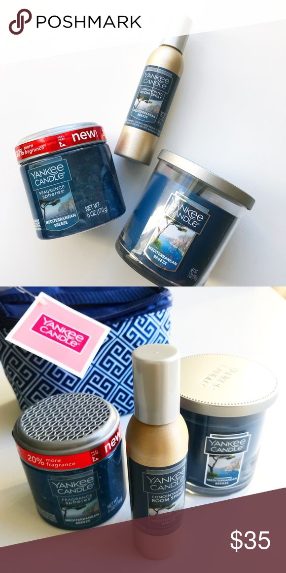 Yankee Candle Greek Isle Travel Gift Set ✈️ 💙 Travel to Greece without ever leaving home. Post-holiday blues don't stand a chance!   - Small Mediterranean Breeze tumbler candle - Fragrance spheres  - Concentrating room spray - 100% polyester bag   Cute carrying case also makes for a great travel pouch. This set might even inspire your next trip! ✈️ Yankee Candle Other