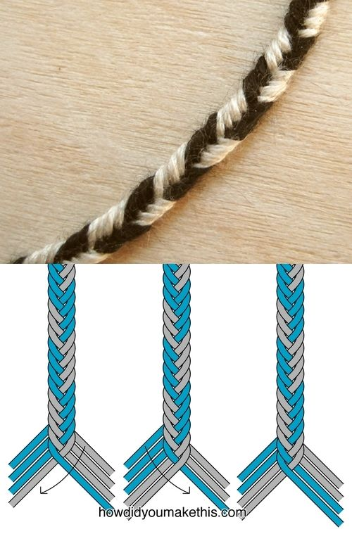 8-strand fishtail braid bracelet, alternating colors . . . ღTrish W ~