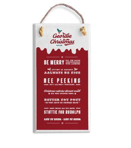 Geordie christmas rules plaque handmade in Newcastle North East gifts