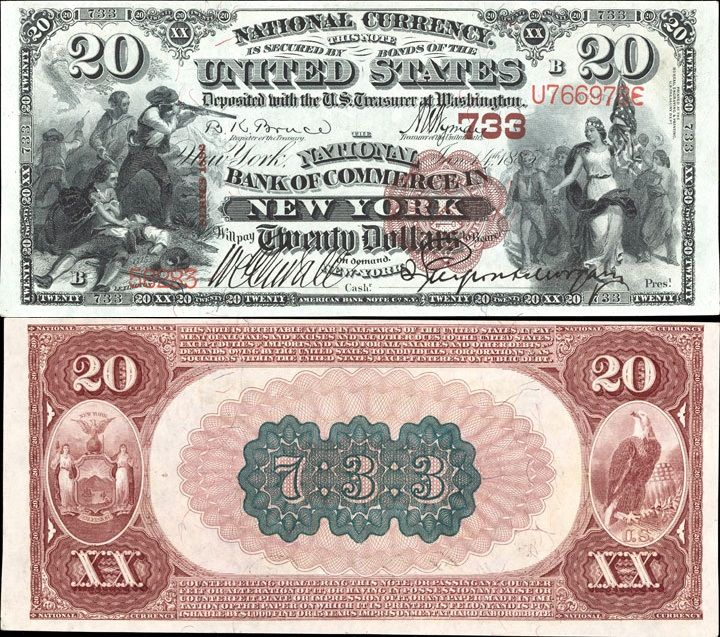 US 20 Dollar Note Series of 1882-Brown Back 1885 Jan 14 Serial# 58283 National Bank of Commerce in New York 733 Signatures: Bruce / Wyman Battle of Lexington, April 19, 1775 Columbia leading a procession New York Seal and Eagle