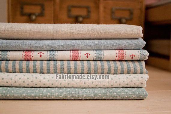 Bundle tissu océan tissu Bundle Blue Stripe points solides ancre flottante Ocean Style lin Bundle - fixe pour 6