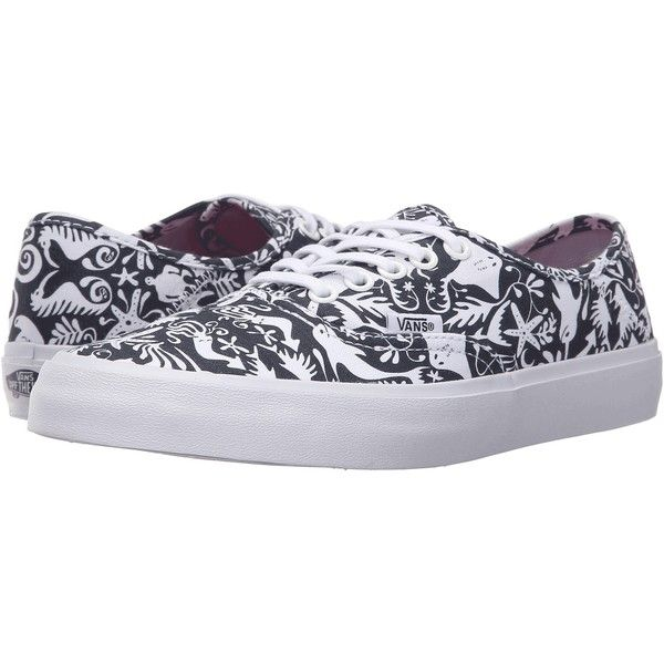 Vans Authentic SF ((TK Sea Life) Original Navy) Women's Lace up casual... (575 MXN) ❤ liked on Polyvore featuring shoes, sneakers, black, navy blue sneakers, lace up shoes, navy sneakers, navy shoes and navy blue shoes