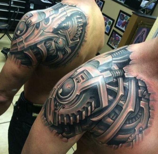 05 Biomechanical Shoulder Tattoo Designs