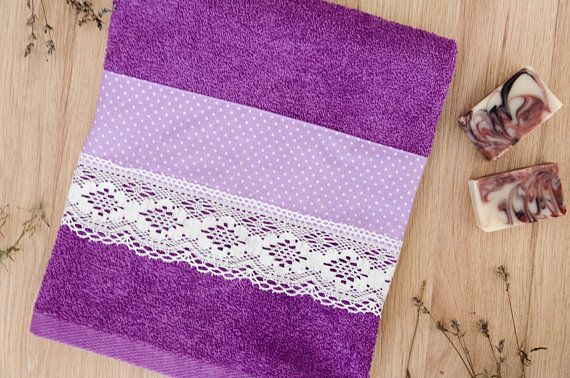 Decorative Bath Towel Lavender Towel Handmade Decorated Decorative Bath Towels Purple Towels Decorative Towels
