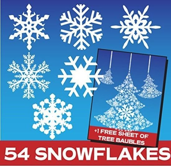 54 Snowflake Window Stickers Clings - Christmas Decorations