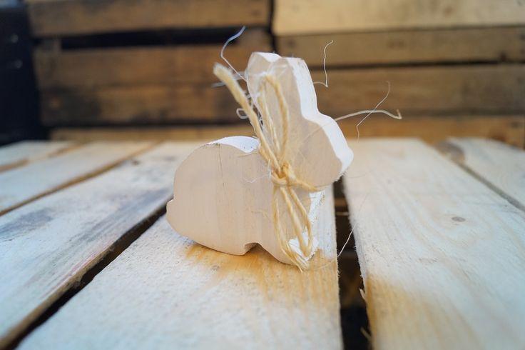 Zajączek wielkanocny z drewna biały Lenko Manufaktura