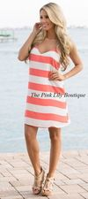 Coastal Dream Coral Dress - The Pink Lily Boutique