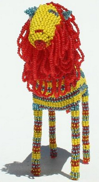 LION IN AFRICA - Art Hand Made In South Africa - Unique Beaded Sculpture