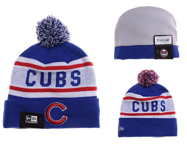 Mens / Womens Chicago Cubs New Era MLB Biggest Fan Vivid Team Graphic Cuffed Knit Pom Pom Beanie Hat - Royal / White