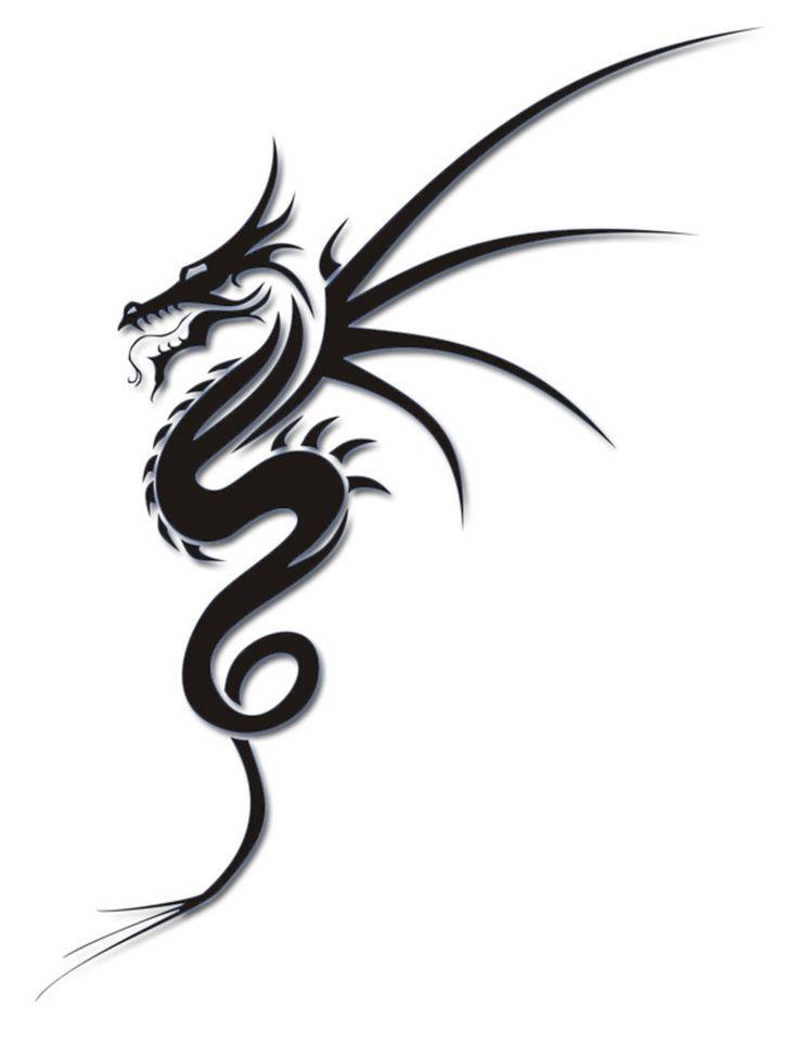 Simple Black Ink Dragon Tattoo Design