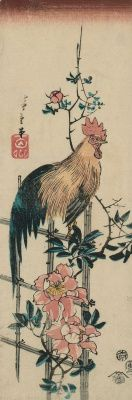 """Утагава Хиросигэ. Петух на изгороди, увитой дикой розой. Серия """"Птицы и цветы"""""""