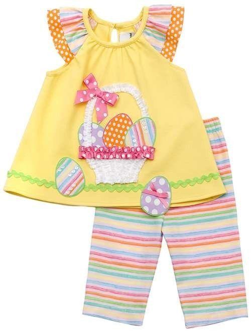 Rare Editions Girls Yellow EASTER Egg Basket Spring Summer Capri Outfit Set Sz 5 #RareEditions #DressyEverydayHoliday