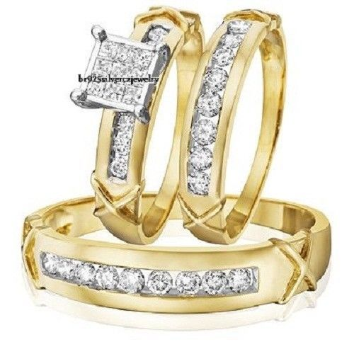 2.58 Carat Diamond 14K Yellow Gold His Her Engagement Ring Wedding Band Trio Set #br925Silverczjewelry #EngagementWeddingAnniversaryPartyDailyWear