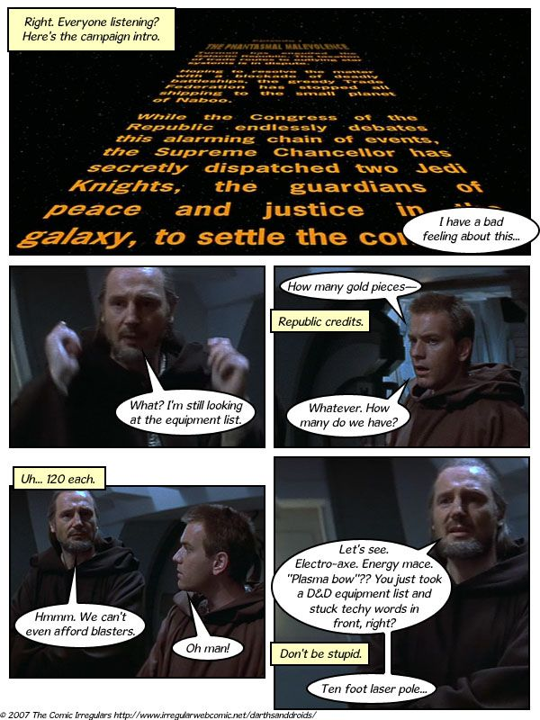 """""""Darths and Droids"""" the Star Wars RPG."""