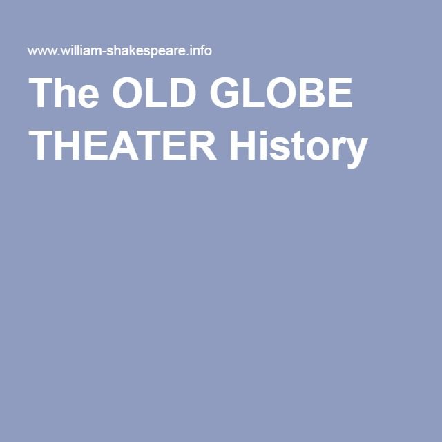 The OLD GLOBE THEATER History