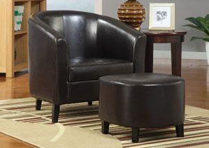 Black U0026 Black Accent Chair With Ottoman