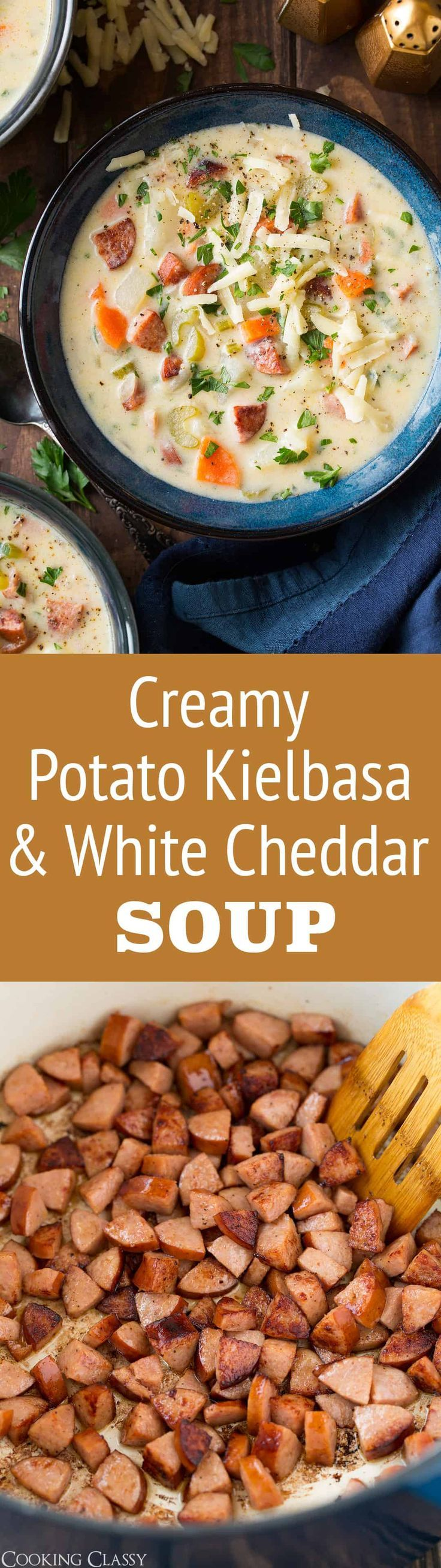 Creamy Potato Kielbasa and White Cheddar Soup - An incredibly filling and perfectly comforting soup for a chilly day! It has a delicious flavor blend of sausage, white cheddar and potatoes and chances are the whole family will love it! #soup #sausage #potatosoup #dinner #comfortfood via @cookingclassy