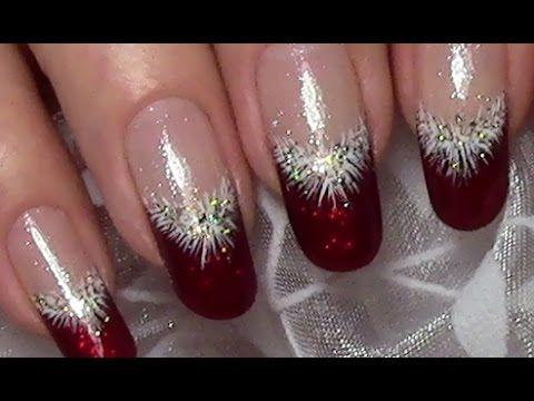Classic Red Christmas Nails / Xmas Nail Art Design (tutorial for long na...