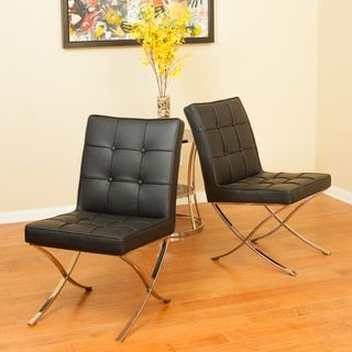 Shop for Milania Black Leather Dining Chairs (Set of 2) by Christopher Knight Home. Get free shipping at Overstock.com - Your Online Furniture Outlet Store! Get 5% in rewards with Club O!