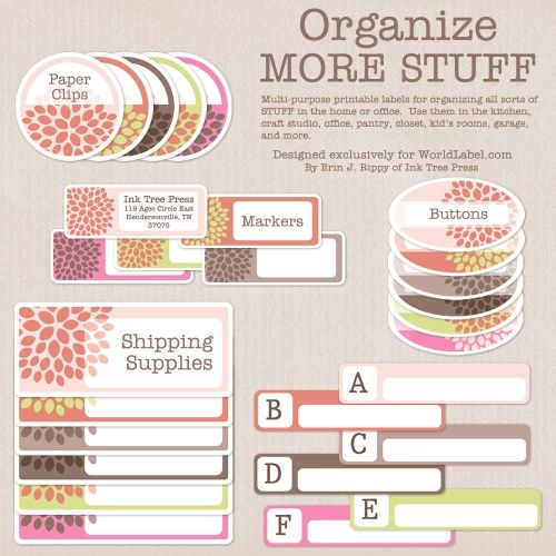 Free printable labels for organizing stuff.