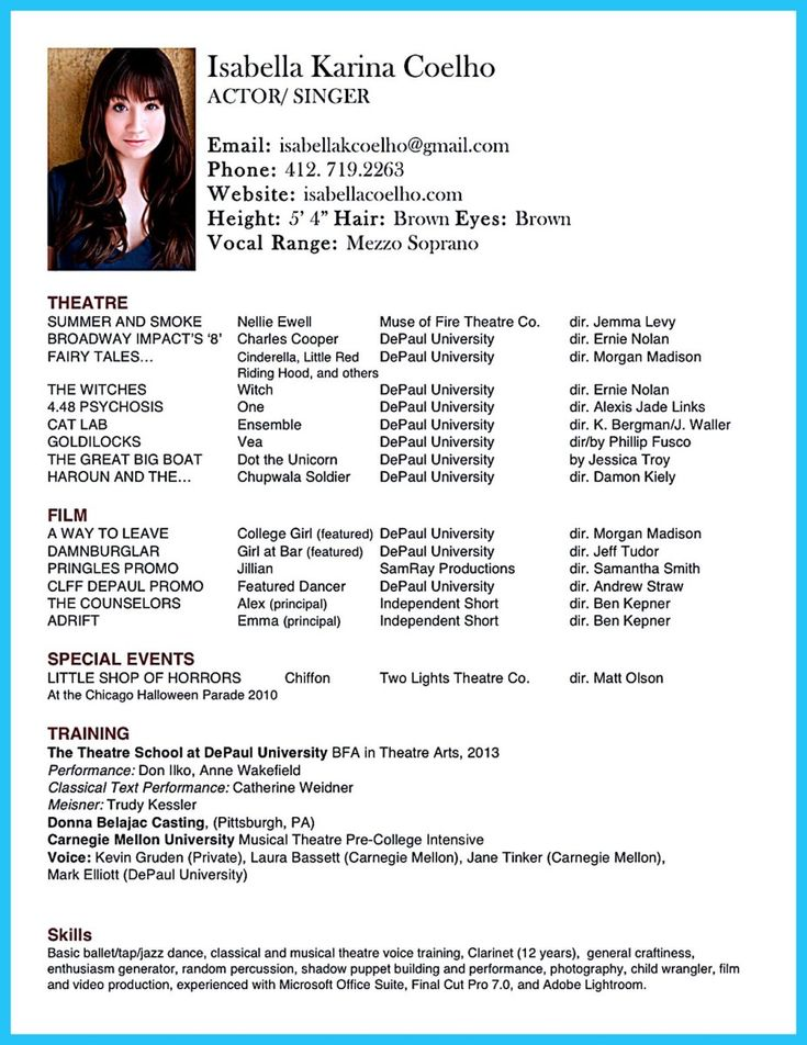 10 best Acting images on Pinterest Acting resume template - Musical Theatre Resume
