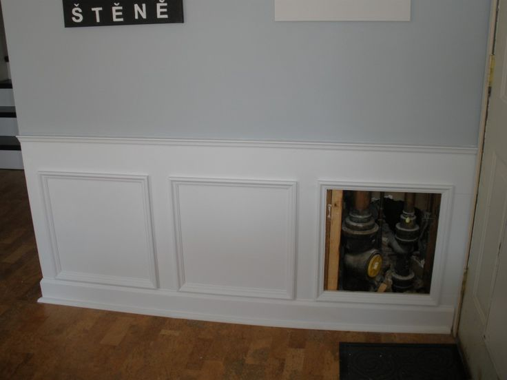 Image On Hiding Plumbing Access With Wainscoting Faux WainscotingWainscoting IdeasWainscoting BathroomBathroom