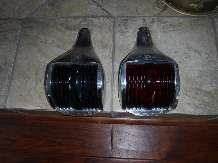 Perko chrome boat navigation lights for vintage cabin cruisers pair red and blue glass by MilliesAttique on Etsy