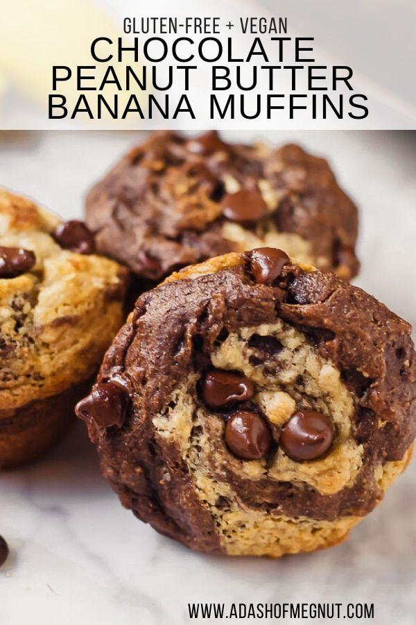 Gluten Free Vegan Chocolate Peanut Butter Banana Muffins Recipe In 2020 Peanut Butter Banana Muffins Banana Muffins Easy Chocolate Bars