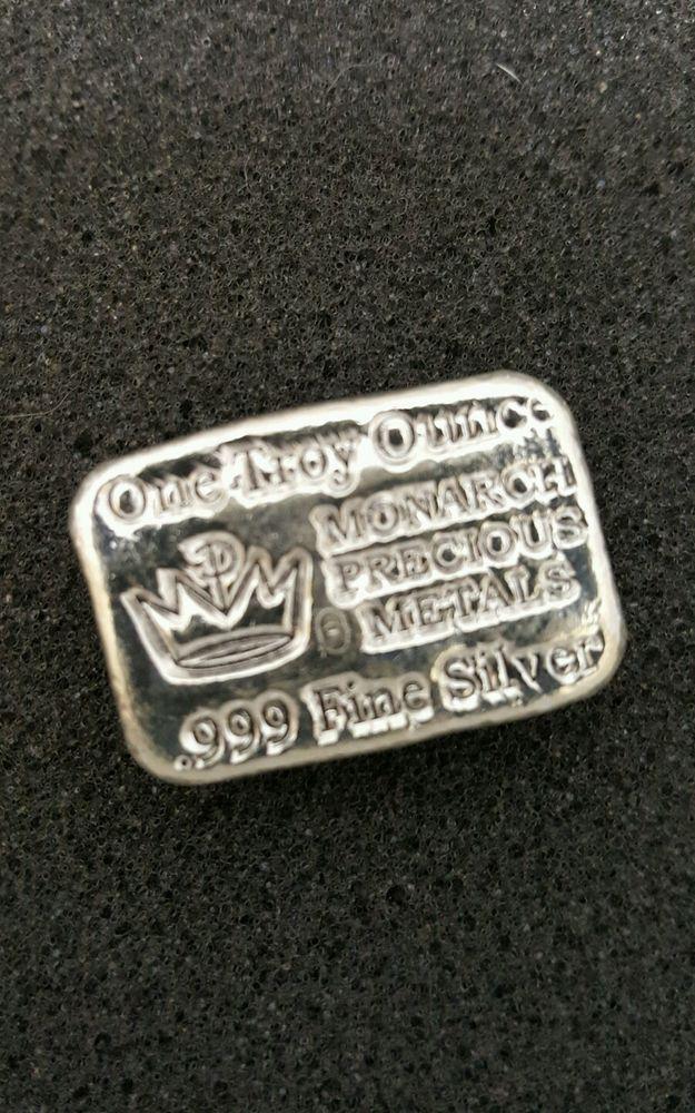 Monarch Precious Metals Hand Poured 1 Troy Oz Fine Solid Silver Bullion USA Bar