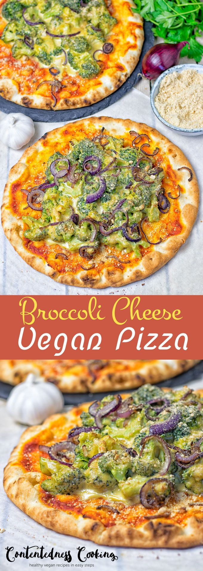 The best Broccoli Cheese Vegan Pizza is here. It's made from just 6 ingredients and in 2 easy steps. A satisfying, filling, and comforting plant based meal.