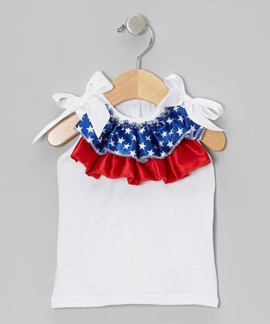 Another great find on #zulily! Patriotic Ruffled Tank - Toddler & Girls by Miss Fancy Pants #zulilyfinds