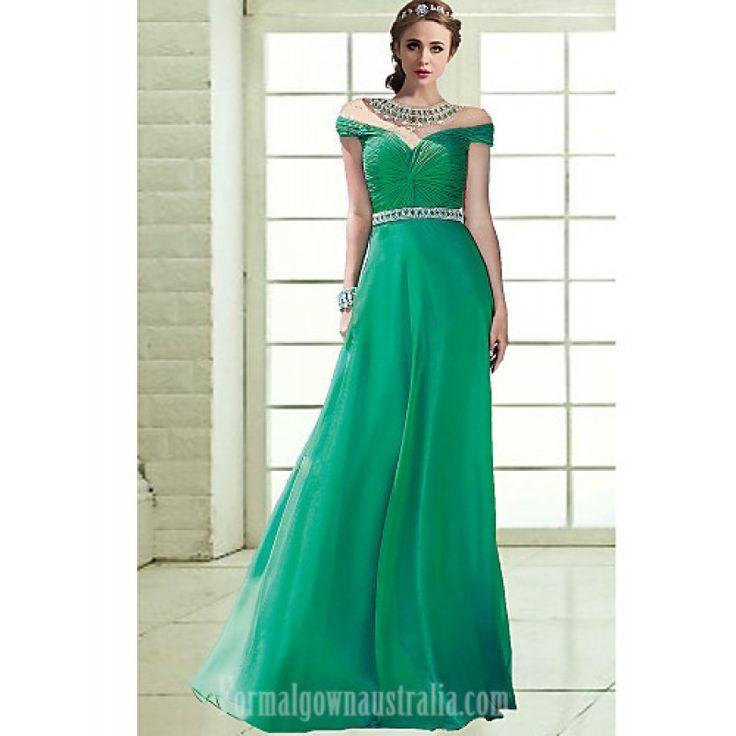Australia Formal Evening Dress Dark Green Sky Blue Plus Sizes Dresses Petite A-line Off-the-shoulder Long Floor-length Chiffon Formal Dress Australia #formaldresses #greenformaldresses #greendresses