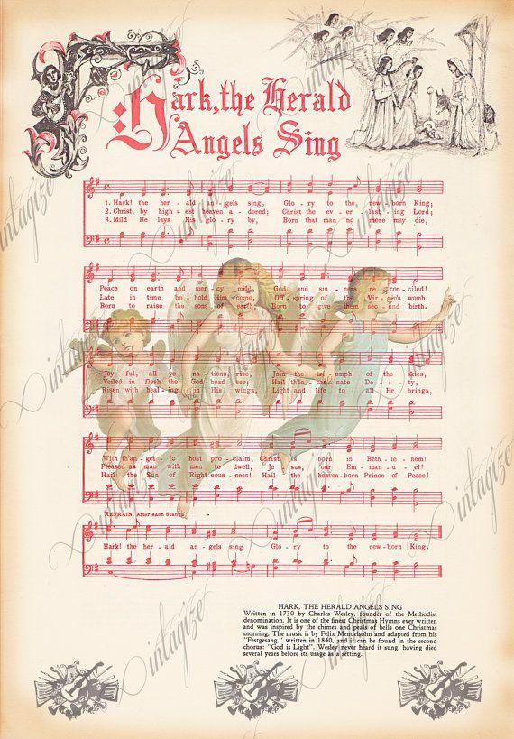 Instant Art digitale download print Vintage kerst bladmuziek voor Hark the Herald Angels Sing. Mooi versierde en kleurrijke! Blurb op de onderkant van de pagina geeft van elk nummer de geschiedenis en oorsprong! Genomen uit een vroege 1900 s Christmas Caroling boek.  Grote kerk koor of afdrukken voor uw caroling groep. Gebruik het als een kaart front, inwikkeling van papier, plaats card, enz.  Gebruik het zo vaak en zoveel manieren als je kunt bedenken voor één prijs!!   U ontvangt 1…