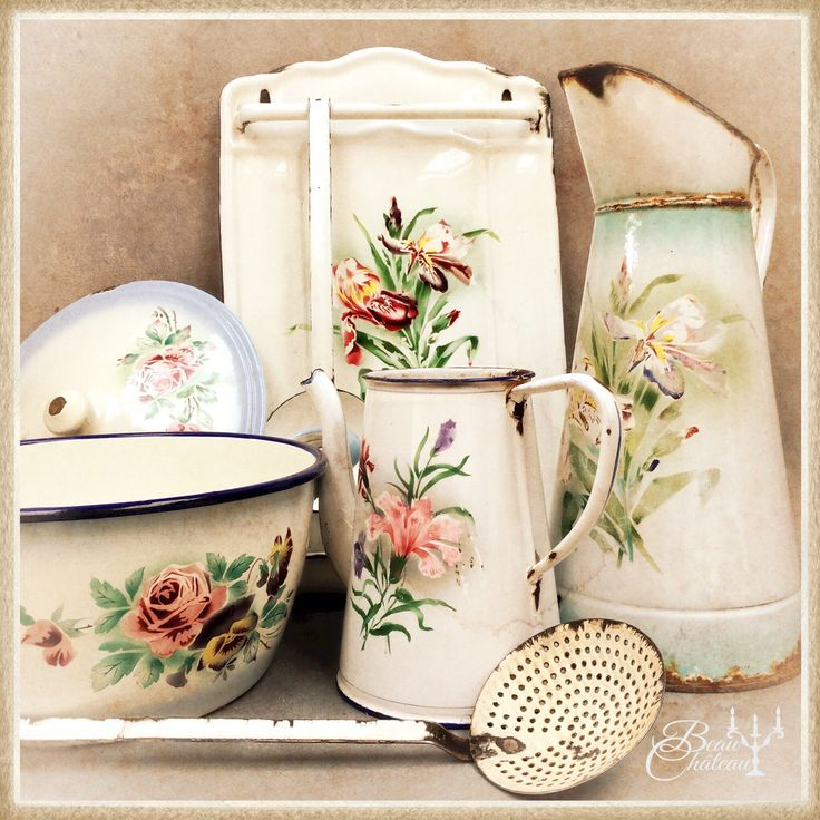 A beautiful collection of vintage French floral enamelware. Shop online https://www.etsy.com/shop/BeauChateauBoutique