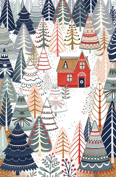 Gorgeous print for a Christmas Card.   A blog that celebrates the world of pattern design. Covering greetings cards, wrap, fabrics, wallpaper, stationery and more.